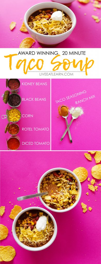 20 Minute Taco Soup (Vegetarian and Meat-Eater Friendly!)