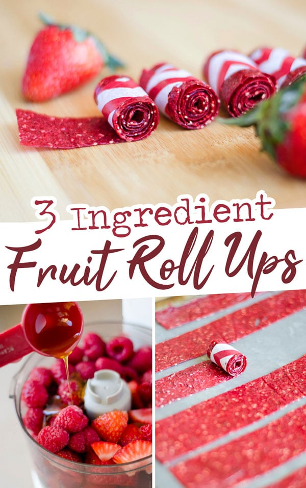 3 Ingredient Fruit Roll-Ups, your favorite childhood snack without all the refined sugar and preservatives. This easy fruit leather is so easy to make, because you can use your oven as a dehydrator! #fruitleather #healthysnacks #fruitsnacks #easyrecipes #homemaderecipes #homemade