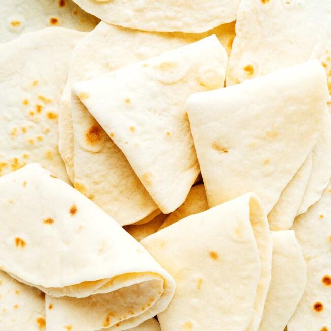 Close up of flour tortillas