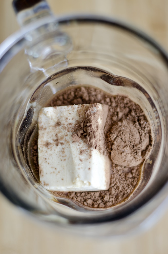 This Tofu Mocha Frappuccino is a delicious combination of silken tofu, cocoa, and coffee! The perfect boost to keep you energized all day.