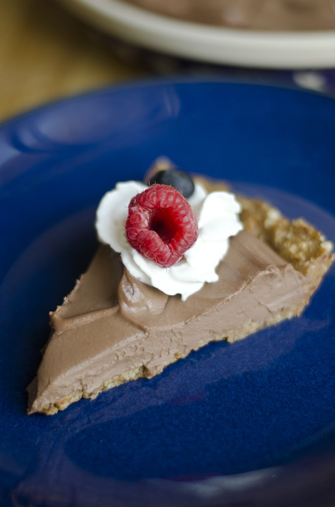 This Chocolate Mousse Tofu Pie is a creamy, decadent pie that packs in loads of chocolate flavor without the dairy or excess fat!
