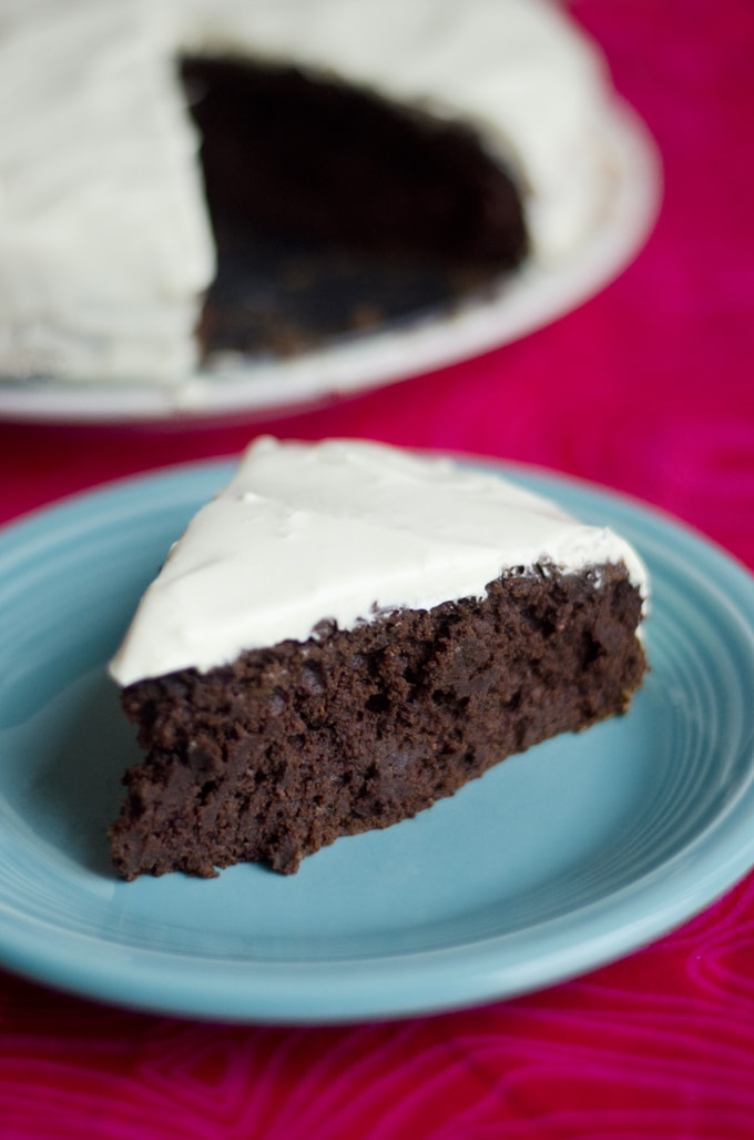 This Healthy Chocolate Cake has just TWO ingredients and is deliciously moist, chocolatey, and downright decadent!