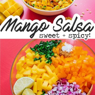 Fresh mango salsa recipe in a bowl with chips