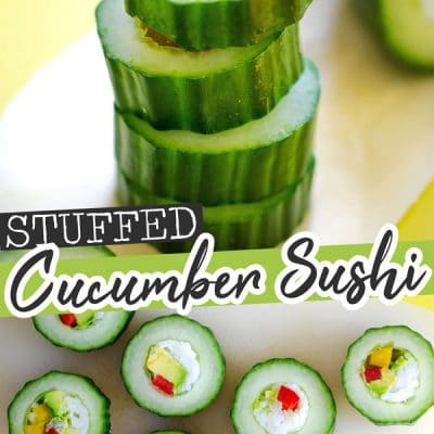 These Cucumber Sushi Rolls are an easy and refreshing way to enjoy vegetarian sushi, without all the hassle!