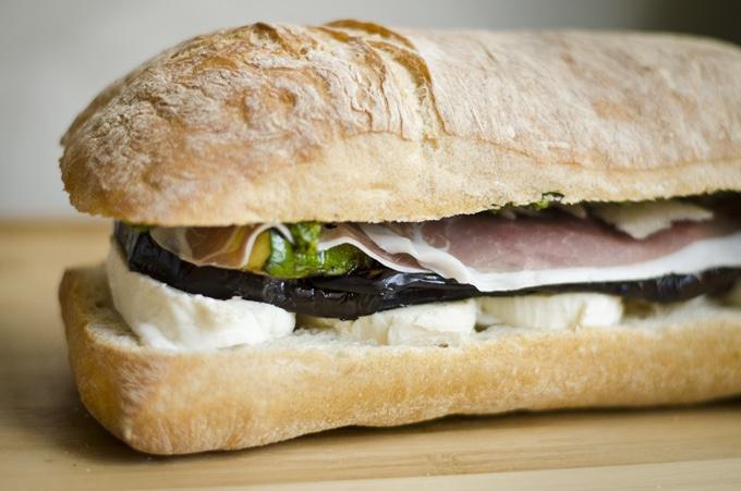 Pressed Eggplant And Pepper Sandwich Recipe — Dishmaps
