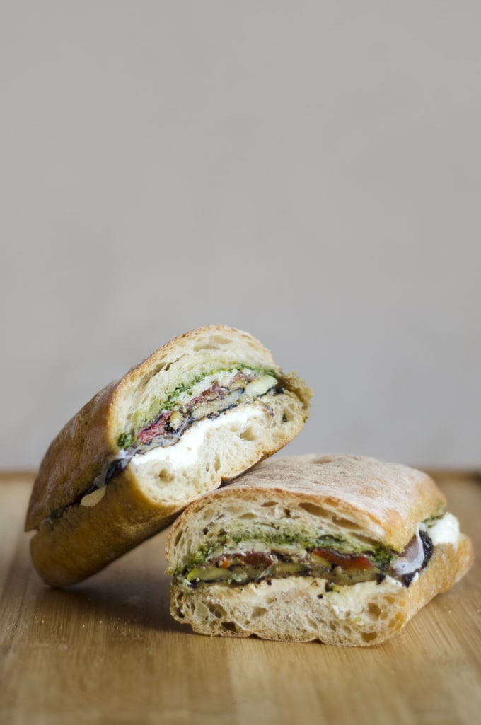 Who knew your could make a Mediterranean pressed eggplant sandwich with a stack of books? Pesto, mozzarella, grilled eggplant, and roasted bell pepper!