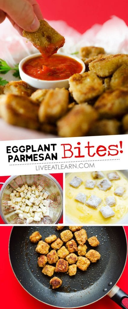These Eggplant Parmesan Poppers have all the deliciousness of eggplant parmesan, in bite-sized form!