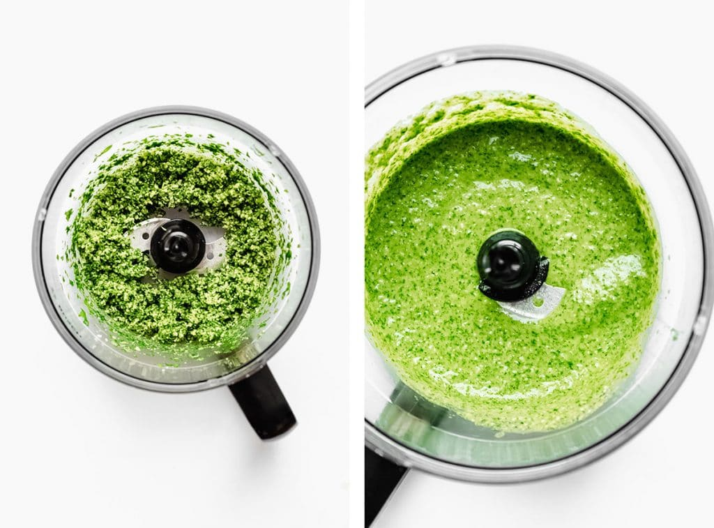 Pesto in a food processor