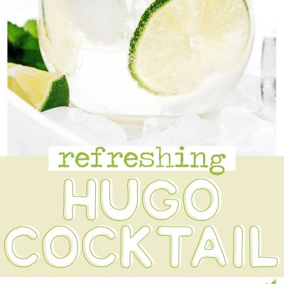 Hugo spritz cocktail in a glass with lime and mint