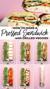 Pressed eggplant sandwich on a cutting board