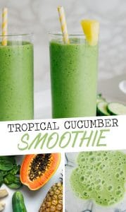 This Tropical Green Cucumber Smoothie is a refreshing, energizing green smoothie that's packed with tropical fruits and antioxidants to kick off your day!