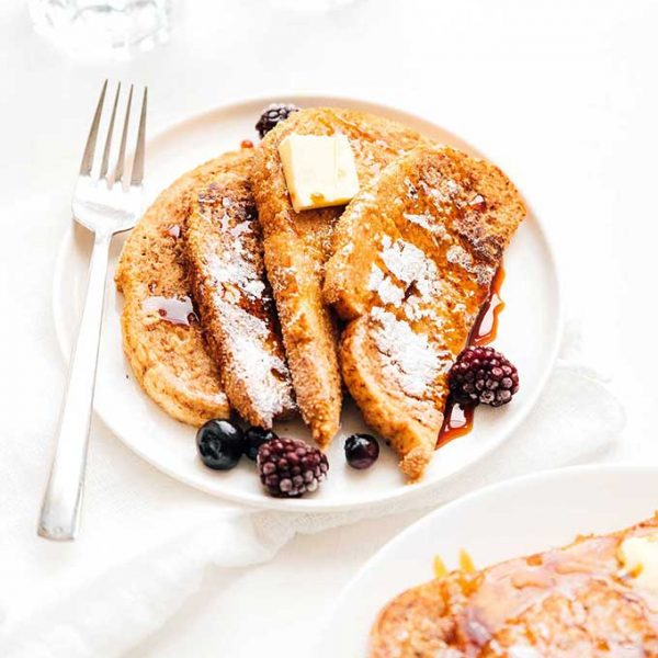 Vegan french toast on a white plate