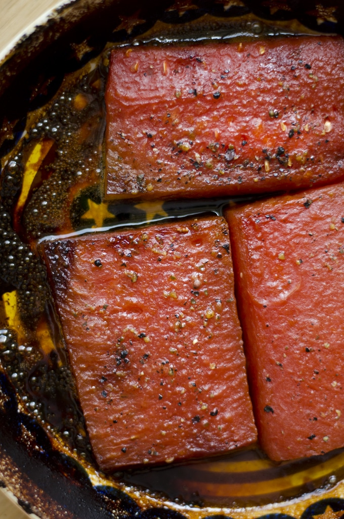 This Oven Roasted Watermelon Steak is a deliciously savory main course that's sure to turn heads!