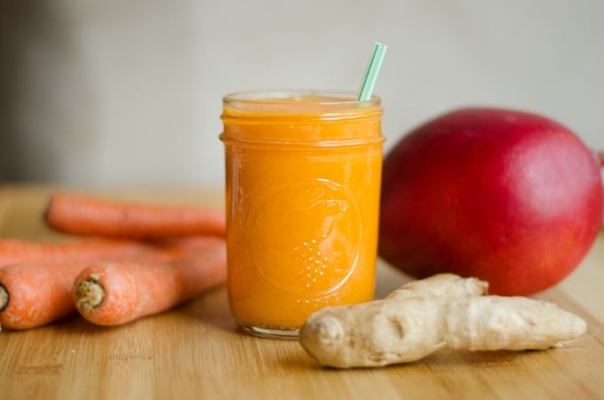You don't need a juicer to make tasty vegetable juice! With just 4 ingredients, this Tropical Carrot Juice is full of nutrients and flavor, without the hassle of fancy equipment.