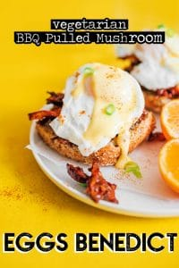 Souther eggs benedict with BBQ pulled mushrooms, poached eggs, and hollandaise sauce