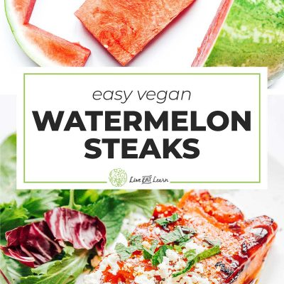 Watermelon steak on a plate with arugula salad