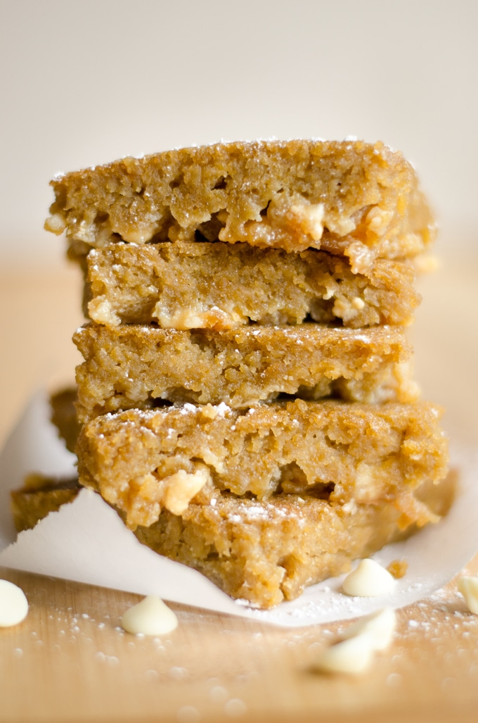 These Chickpea Blondies are a gluten-free dessert that are packed with creamy white chocolate and protein-packed chickpeas!