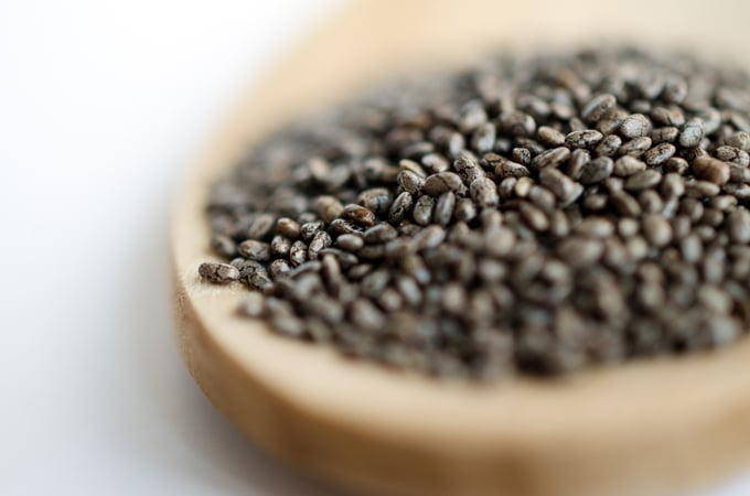 Close up photo of chia seeds
