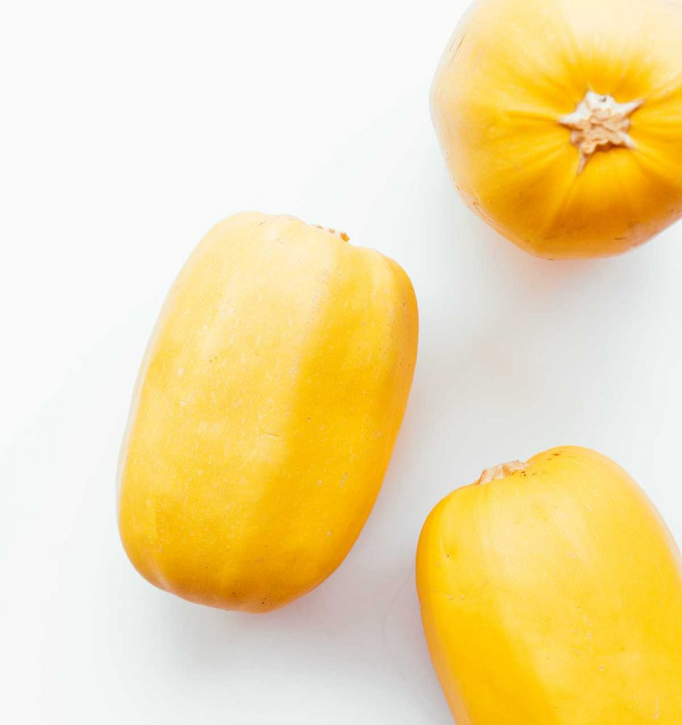 Spaghetti squash on a white background