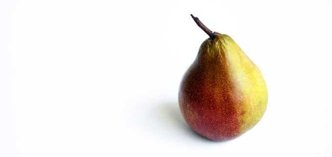 Seckel pear on a white background