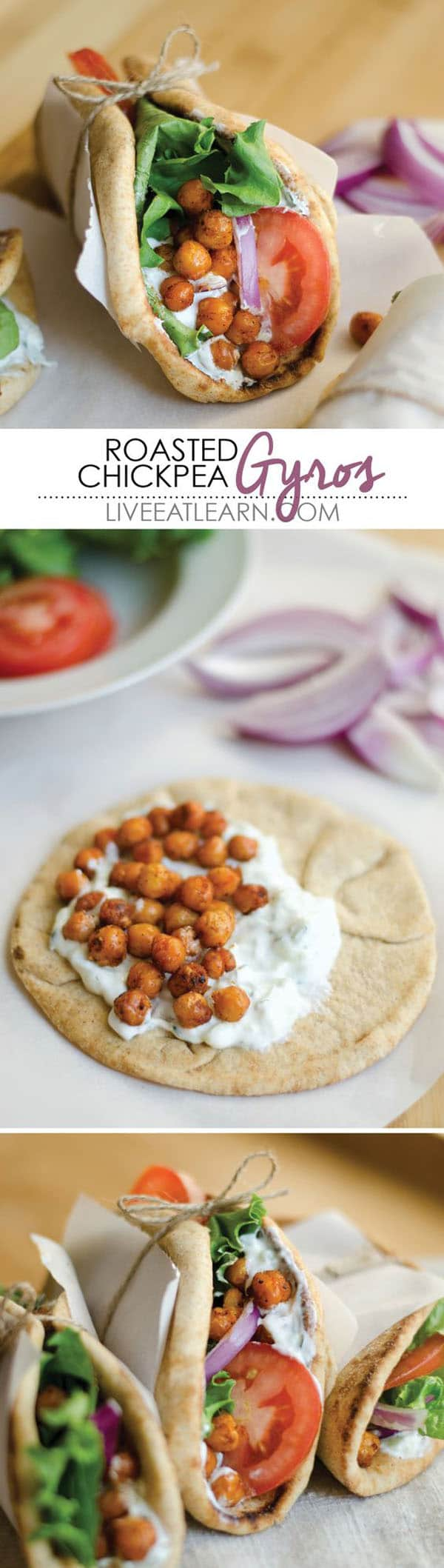 This Roasted Chickpea Gyros recipe is an easy and delicious Mediterranean inspired wrap with refreshing tzatziki sauce. The perfect vegetarian dinner or lunch! #vegetarianrecipes #veganrecipes #vegetarian #sandwich #healthyrecipes #chickpeas #dinnerrecipes #easydinners #weeknightdinners #gyros #tzatziki