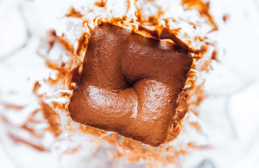 Freshly blended healthy vegan Nutella ingredients