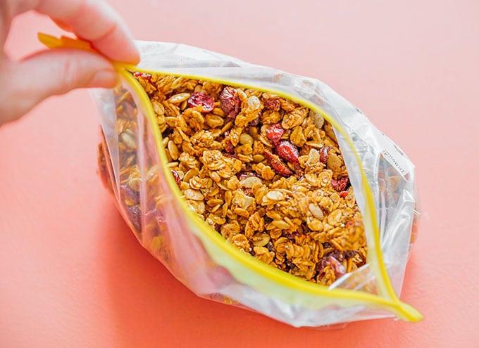 Homemade pumpkin granola in a baggie