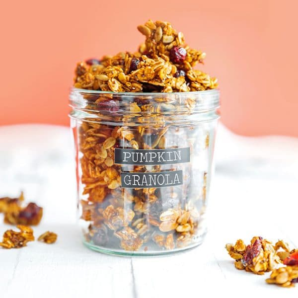 Pumpkin granola in a jar with a label