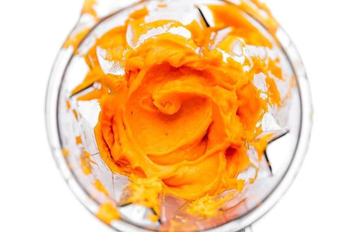 Homemade pumpkin puree in a blender