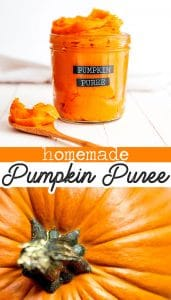 Homemade pumpkin puree in a jar
