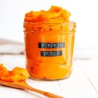 Homemade pumpkin puree in a jar