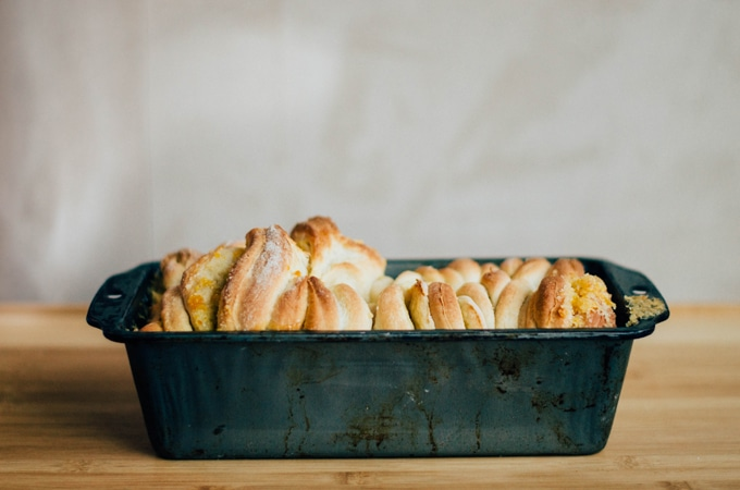 Orange Pomegranate Pull Apart Bread