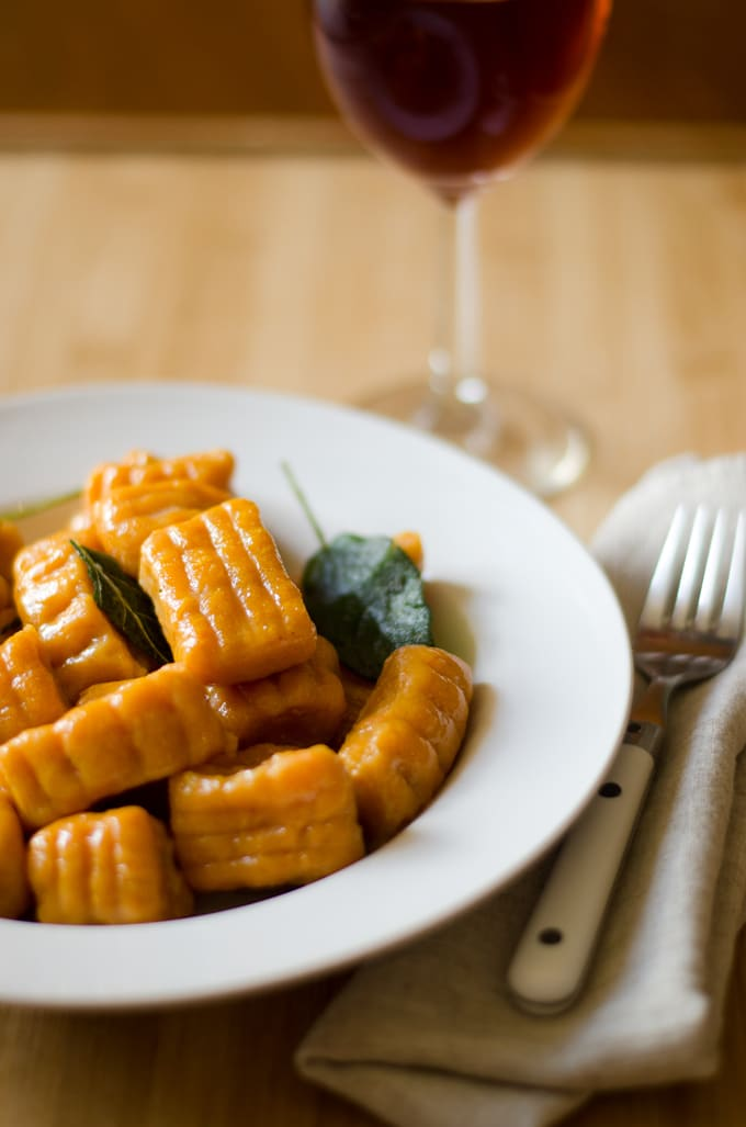 This Sweet Potato and Pumpkin Gnocchi is an autumn-inspired take on gnocchi. Fluffy, tender, and melt in your mouth with a creamy sage sauce.