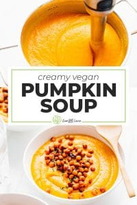 Pumpkin soup in a bowl with chickpeas on top