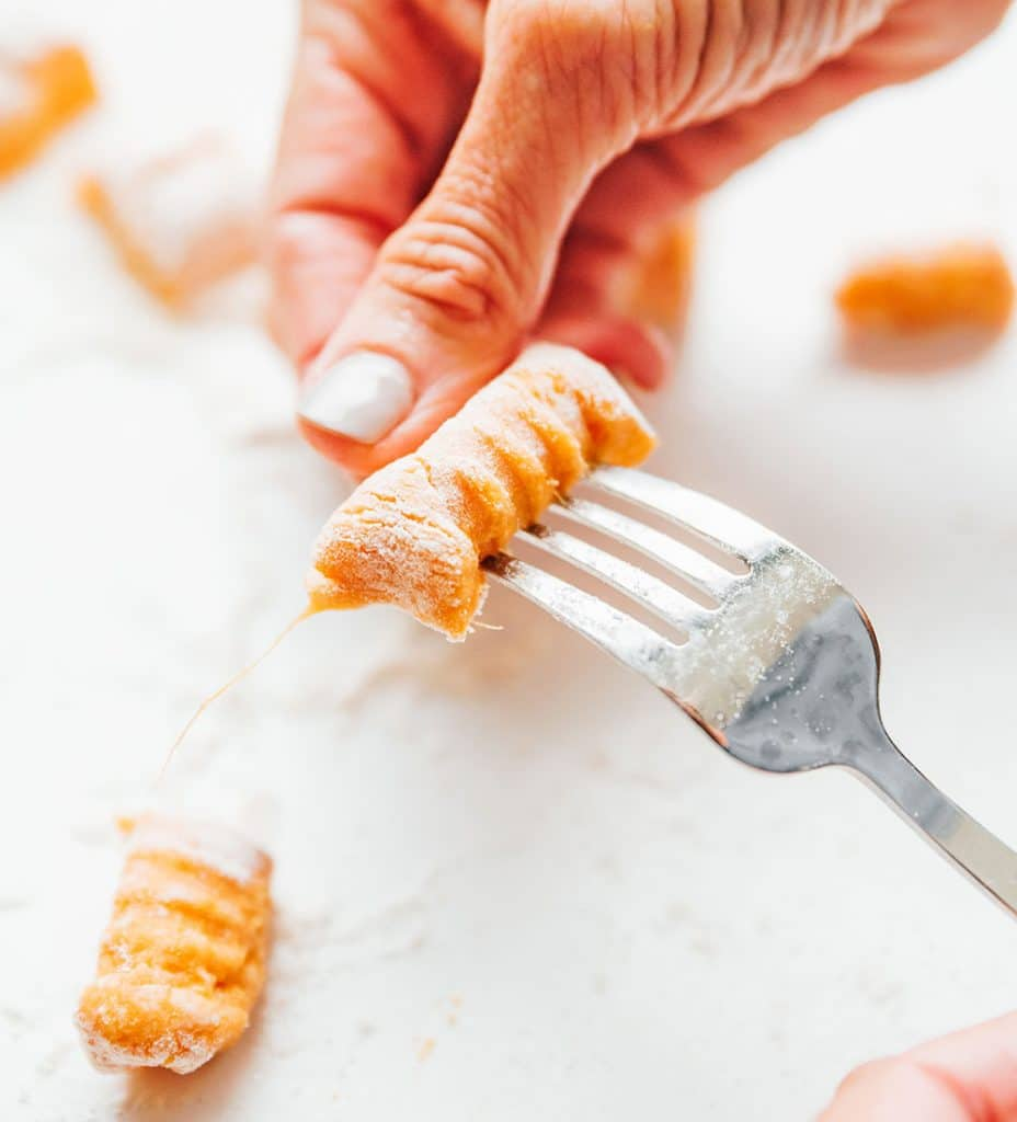 How to roll sweet potato gnocchi with a fork