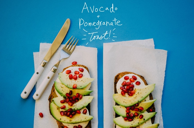 This Pomegranate Avocado Toast is a simple breakfast or brunch that's packed with roasted garlic, zingy pomegranate arils, and creamy mozzarella!