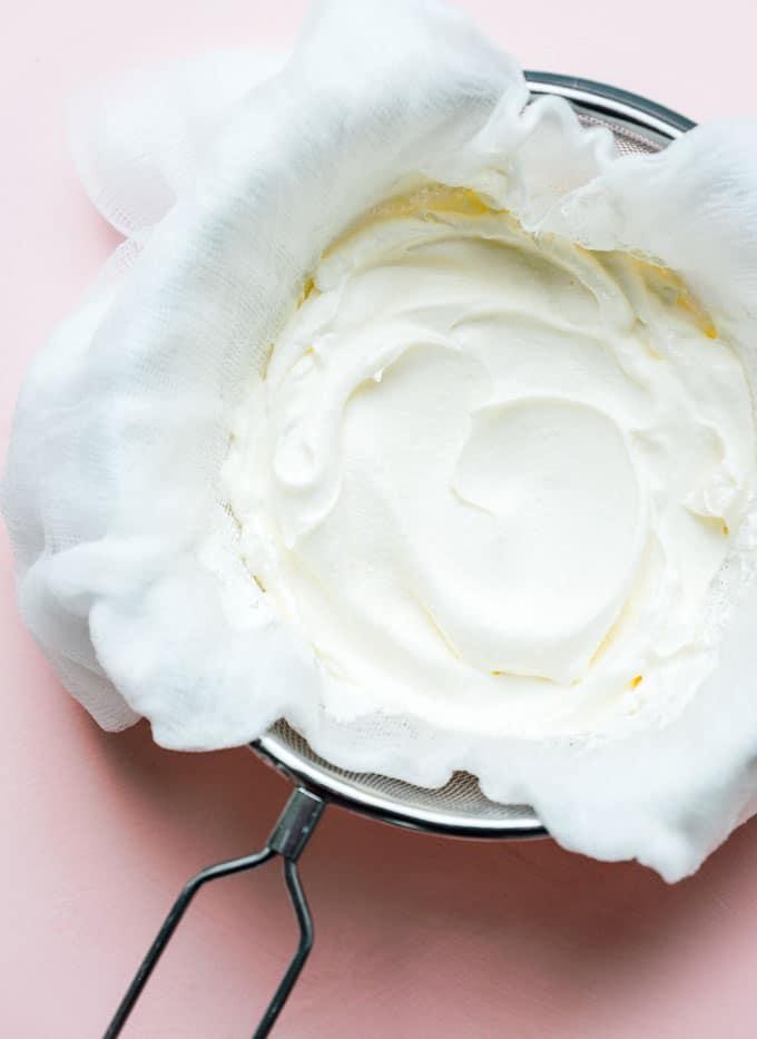 Straining homemade greek yogurt
