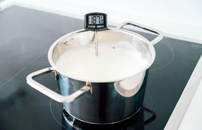 Heating milk to 185 to make yogurt on stove