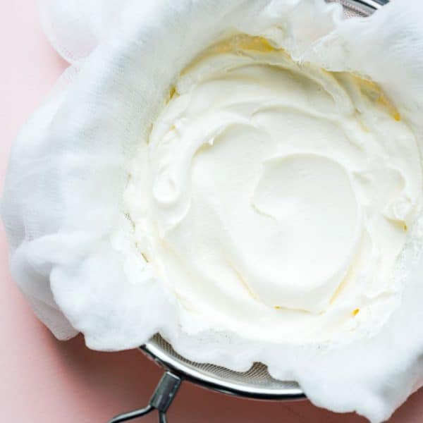 Straining homemade greek yogurt