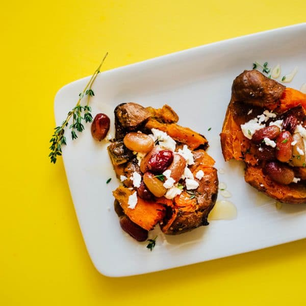 Sweet Potato Smashers with Roasted Grapes