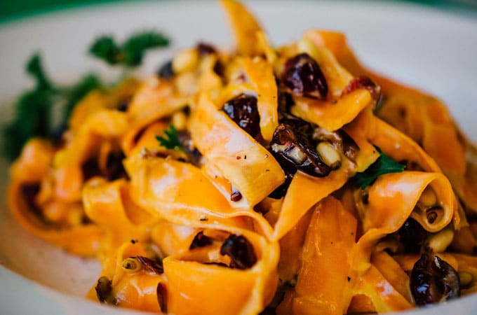 Sweet Potato Fettuccine in Gorgonzola Sauce