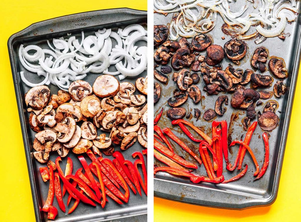 A baking sheet filled with sliced onion, mushrooms, and red bell pepper