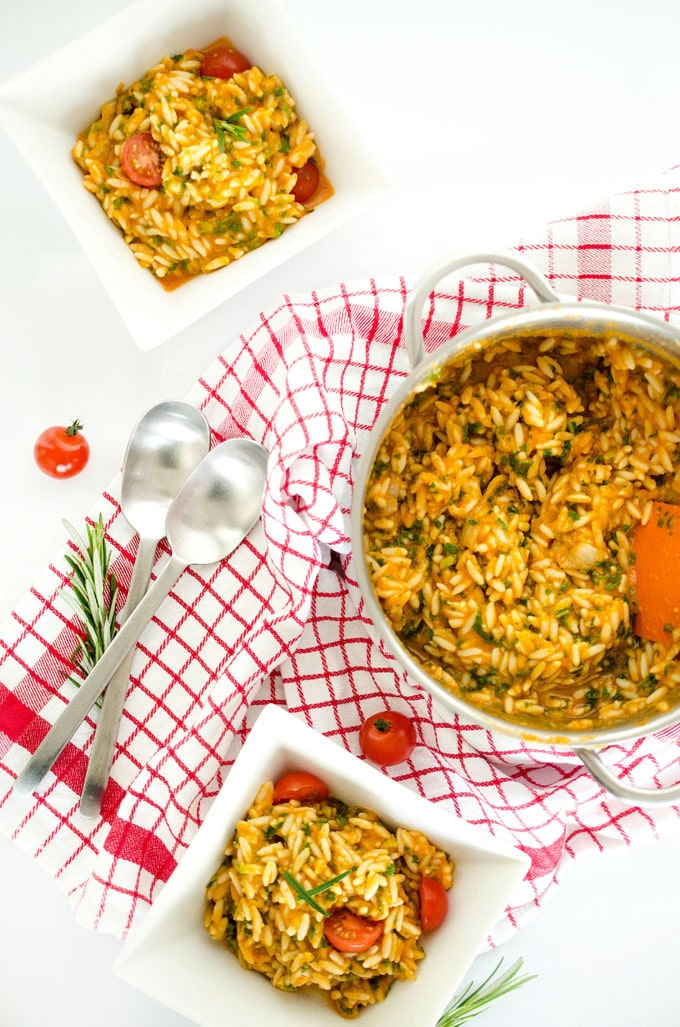 Creamy Sweet Potato Squash Orzo with Kale