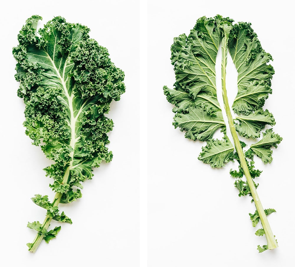 how to cut kale on a white background