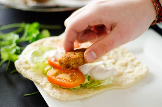 Bulgur Falafel Sandwiches on Homemade Flatbread