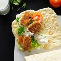 Bulgur Falafel Sandwiches on Homemade Flatbread