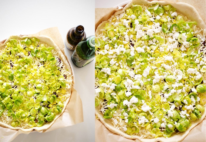 Beer Caramelized Onion and Brussels Sprout Pizza