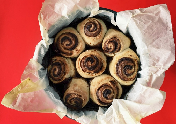 Cinnamon rolls in a baking pan