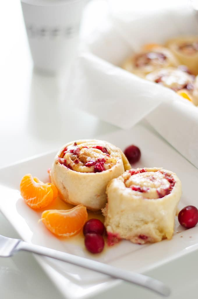 Cranberry Orange Sweet Rolls on a plate