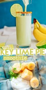 key lime pie smoothie in a glass with a straw